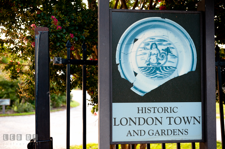 London Town sign post at the front gate. Historic London Town and Gardens wedding photos at Edgewater Annapolis, Maryland by photographers of Leo Dj Photography. http://leodjphoto.com