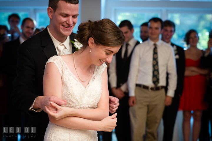 Bride and Groom smiling during first dance. Historic London Town and Gardens wedding photos at Edgewater Annapolis, Maryland by photographers of Leo Dj Photography. http://leodjphoto.com