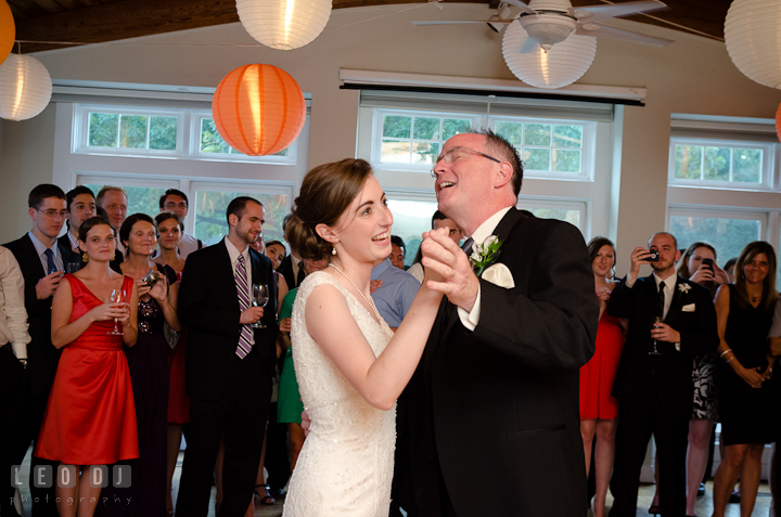 Guests watching Bride and her Father dancing. Historic London Town and Gardens wedding photos at Edgewater Annapolis, Maryland by photographers of Leo Dj Photography. http://leodjphoto.com