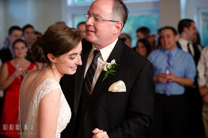 Father and daughter singing Brown Eyed Girl from Van Morrison during Father of the Bride and Daughter dance. Historic London Town and Gardens wedding photos at Edgewater Annapolis, Maryland by photographers of Leo Dj Photography. http://leodjphoto.com