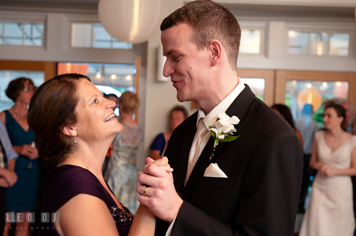Mother of the Groom and son dance. Historic London Town and Gardens wedding photos at Edgewater Annapolis, Maryland by photographers of Leo Dj Photography. http://leodjphoto.com