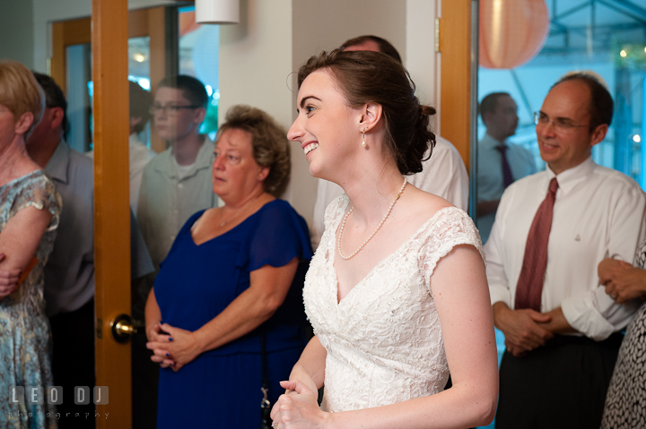 Bride smiling seeing her husband dancing with his Mother. Historic London Town and Gardens wedding photos at Edgewater Annapolis, Maryland by photographers of Leo Dj Photography. http://leodjphoto.com
