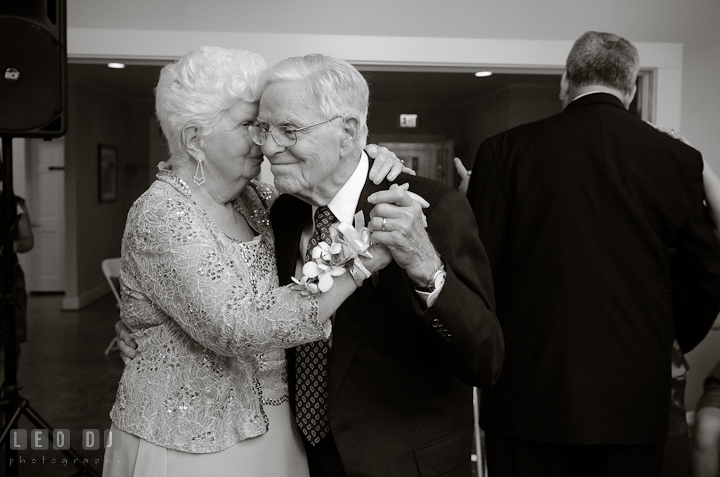 Groom's grandparents dancing for the anniversary dance. Historic London Town and Gardens wedding photos at Edgewater Annapolis, Maryland by photographers of Leo Dj Photography. http://leodjphoto.com
