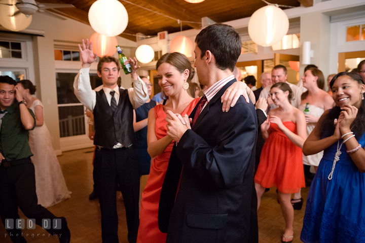 Sister of Groom dancing with her fiancé. Historic London Town and Gardens wedding photos at Edgewater Annapolis, Maryland by photographers of Leo Dj Photography. http://leodjphoto.com