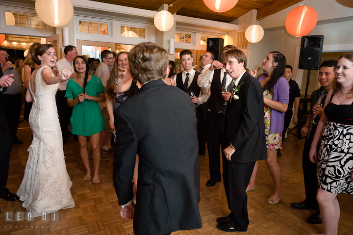 Bride and guests singing N'Sync's Bye bye bye song. Historic London Town and Gardens wedding photos at Edgewater Annapolis, Maryland by photographers of Leo Dj Photography. http://leodjphoto.com