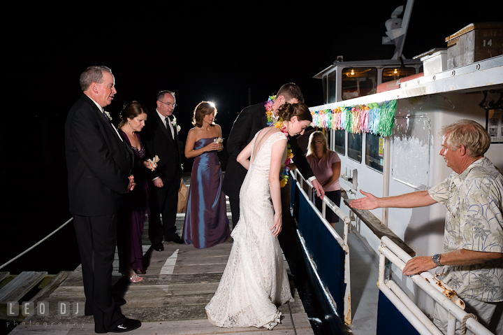 Bride and Groom boarding the boat. Historic London Town and Gardens wedding photos at Edgewater Annapolis, Maryland by photographers of Leo Dj Photography. http://leodjphoto.com