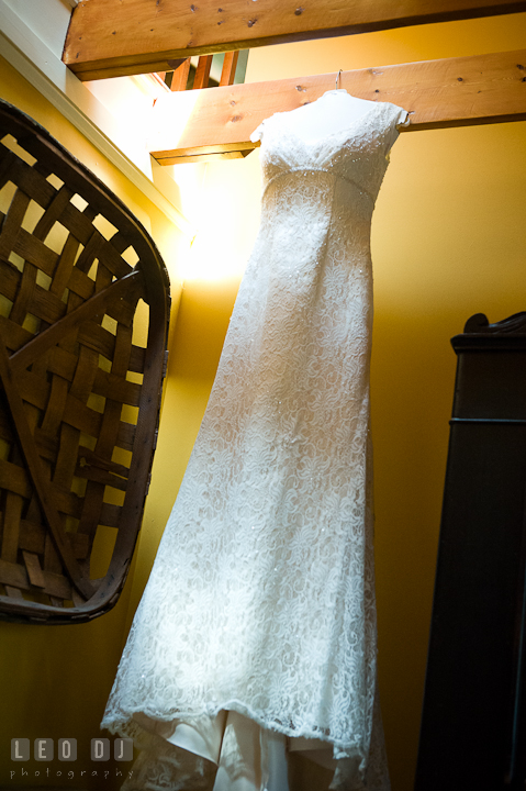 Beautiful detail wedding dress, wedding gown from Davids Bridal. Saint John the Evangelist church wedding ceremony photos at Severna Park, Maryland by photographers of Leo Dj Photography. http://leodjphoto.com