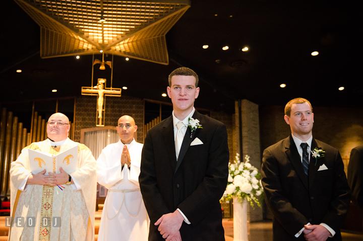 Groom admiring Bride in her dress at their first glance. Saint John the Evangelist church wedding ceremony photos at Severna Park, Maryland by photographers of Leo Dj Photography. http://leodjphoto.com