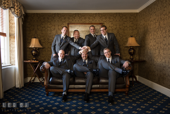 Group shot of Groom, Best Man, and Groomsmen inside hotel room. The Tidewater Inn wedding, Easton, Eastern Shore, Maryland, by wedding photographers of Leo Dj Photography. http://leodjphoto.com