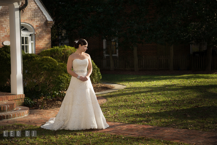 Bride waiting for Groom during first glance. The Tidewater Inn wedding, Easton, Eastern Shore, Maryland, by wedding photographers of Leo Dj Photography. http://leodjphoto.com