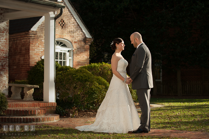 Bride and Groom seeing each other for the first time during first glance. The Tidewater Inn wedding, Easton, Eastern Shore, Maryland, by wedding photographers of Leo Dj Photography. http://leodjphoto.com