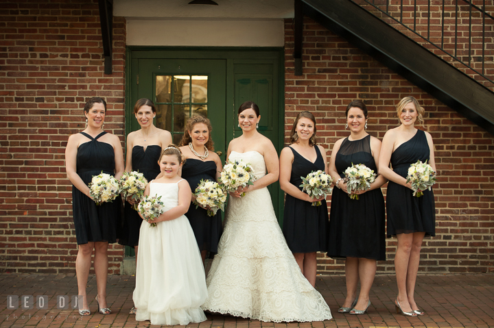 Group shot of Bride and Bride's Party with flower girl. The Tidewater Inn wedding, Easton, Eastern Shore, Maryland, by wedding photographers of Leo Dj Photography. http://leodjphoto.com