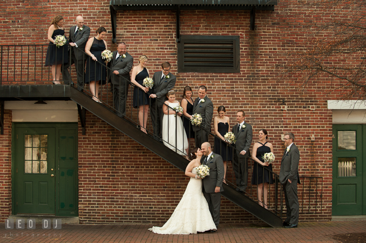 Group shot of Bride, Groom, and their Wedding Party. The Tidewater Inn wedding, Easton, Eastern Shore, Maryland, by wedding photographers of Leo Dj Photography. http://leodjphoto.com