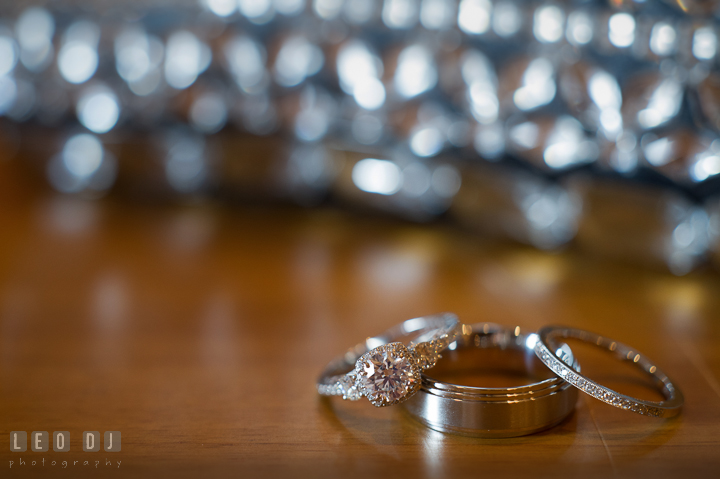 Close up shot of Bride's engagement and wedding ring, and Groom's wedding band. The Tidewater Inn wedding, Easton, Eastern Shore, Maryland, by wedding photographers of Leo Dj Photography. http://leodjphoto.com