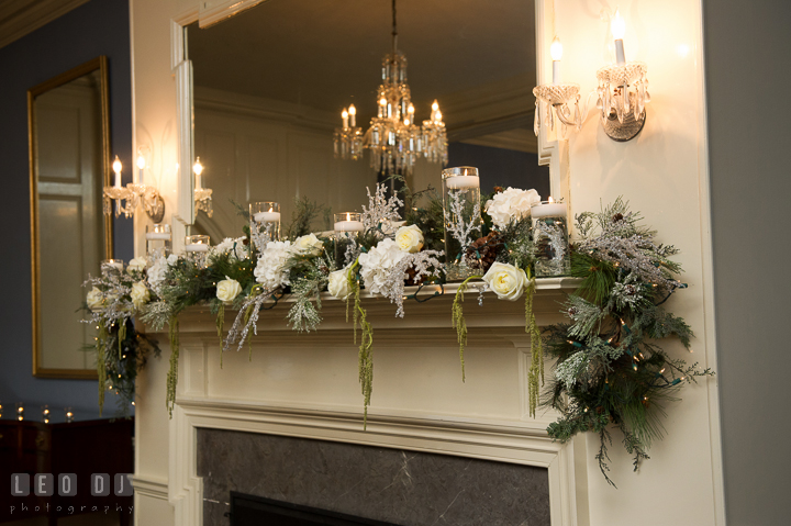Winter and Christmas themed decorations for ceremony site. The Tidewater Inn wedding, Easton, Eastern Shore, Maryland, by wedding photographers of Leo Dj Photography. http://leodjphoto.com