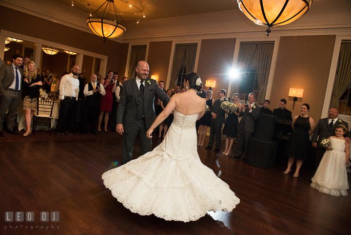 Groom twirling Bride during first dance. The Tidewater Inn wedding, Easton, Eastern Shore, Maryland, by wedding photographers of Leo Dj Photography. http://leodjphoto.com