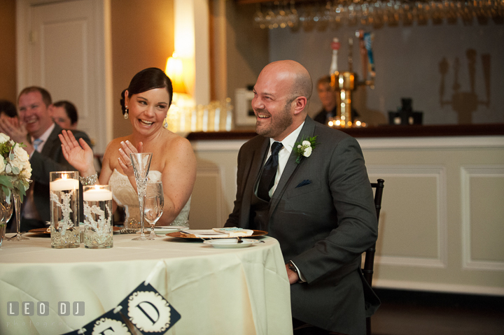 Bride and Groom laughing during toast speech. The Tidewater Inn wedding, Easton, Eastern Shore, Maryland, by wedding photographers of Leo Dj Photography. http://leodjphoto.com