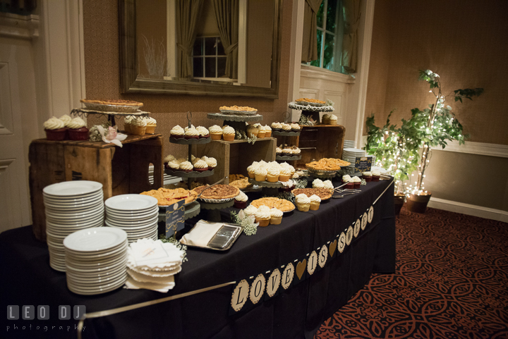 Desert table of cupcakes and pies from Mabel's Bakery. The Tidewater Inn wedding, Easton, Eastern Shore, Maryland, by wedding photographers of Leo Dj Photography. http://leodjphoto.com