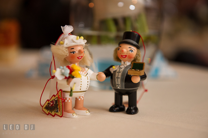 A gift set of traditional German wooden carving of Bride and Groom. The Tidewater Inn wedding, Easton, Eastern Shore, Maryland, by wedding photographers of Leo Dj Photography. http://leodjphoto.com