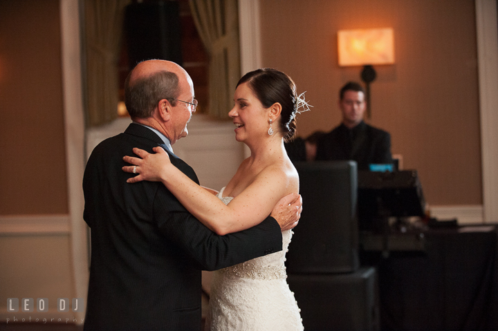Father of the Bride dancing with daughter during parent dance. The Tidewater Inn wedding, Easton, Eastern Shore, Maryland, by wedding photographers of Leo Dj Photography. http://leodjphoto.com