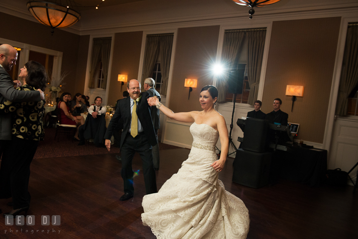 Father twirling Bride during combined parent dance. The Tidewater Inn wedding, Easton, Eastern Shore, Maryland, by wedding photographers of Leo Dj Photography. http://leodjphoto.com