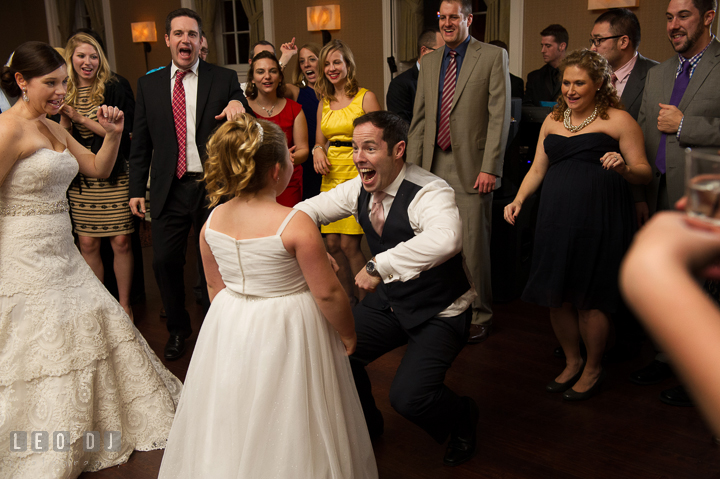 Guests having fun and dancing with flower girl. The Tidewater Inn wedding, Easton, Eastern Shore, Maryland, by wedding photographers of Leo Dj Photography. http://leodjphoto.com