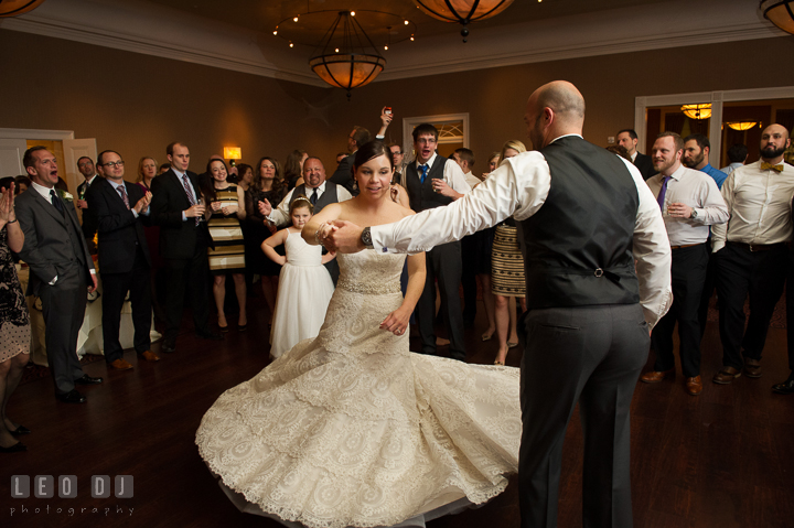 Bride and Groom dancing inside a circle of guests. The Tidewater Inn wedding, Easton, Eastern Shore, Maryland, by wedding photographers of Leo Dj Photography. http://leodjphoto.com