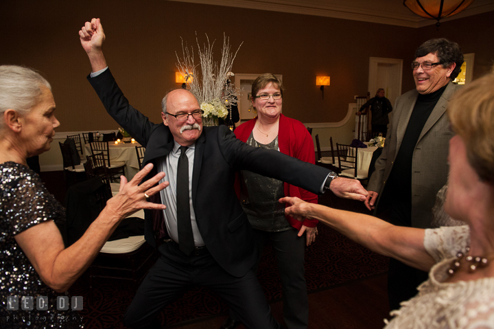 Uncle danced with music during open dance. The Tidewater Inn wedding, Easton, Eastern Shore, Maryland, by wedding photographers of Leo Dj Photography. http://leodjphoto.com