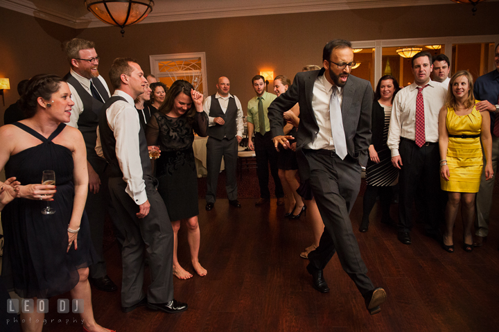 Guest showing breaking out great moves. The Tidewater Inn wedding, Easton, Eastern Shore, Maryland, by wedding photographers of Leo Dj Photography. http://leodjphoto.com