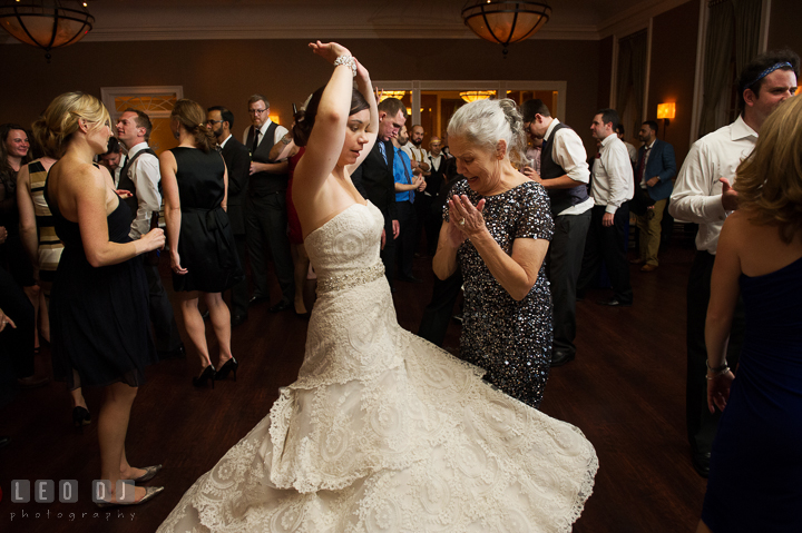 Bride twirling her wedding gown while dancing with Mother. The Tidewater Inn wedding, Easton, Eastern Shore, Maryland, by wedding photographers of Leo Dj Photography. http://leodjphoto.com
