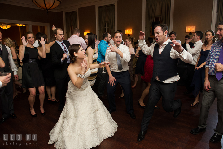 Bride dancing the night away with her guests with music by Jason Walace from Absolute Entertainment. The Tidewater Inn wedding, Easton, Eastern Shore, Maryland, by wedding photographers of Leo Dj Photography. http://leodjphoto.com