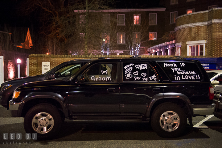 Bride and Groom's car with writings and drawings on their windows. The Tidewater Inn wedding, Easton, Eastern Shore, Maryland, by wedding photographers of Leo Dj Photography. http://leodjphoto.com