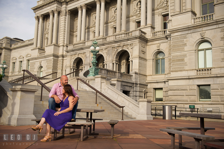 Engaged couple posing in front of a gorgeous old building by the Capitol Hill. Washington DC pre-wedding engagement photo session, by wedding photographers of Leo Dj Photography. http://leodjphoto.com