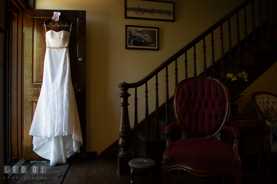 Bride's gorgeous laced wedding gown from David's Bridal, designed by Galina. USNA, US Naval Academy military wedding at Annapolis Maryland, by wedding photographers of Leo Dj Photography. http://leodjphoto.com