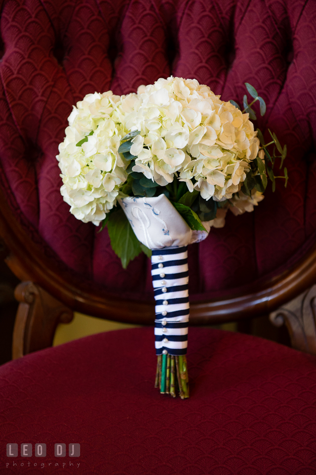 Fragment of Bride's Mother's wedding dress were made into a handkerchief and became a part of the Bride's beautiful floral bouquet. USNA, US Naval Academy military wedding at Annapolis Maryland, by wedding photographers of Leo Dj Photography. http://leodjphoto.com