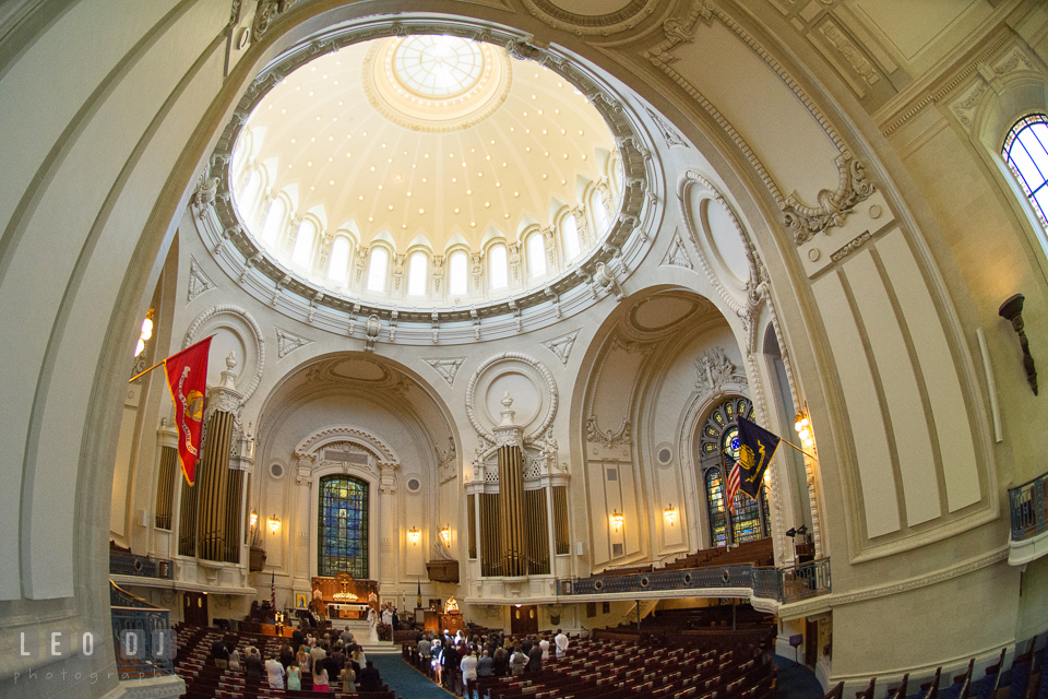 Fish-eye view of the USNA Chapel during the wedding ceremony. USNA, US Naval Academy military wedding at Annapolis Maryland, by wedding photographers of Leo Dj Photography. http://leodjphoto.com