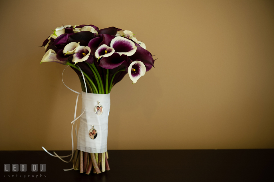 Purple wedding bouquet from DaVinci Florist. Harbour View Events Woodbridge Virginia wedding ceremony and reception photo, by wedding photographers of Leo Dj Photography. http://leodjphoto.com