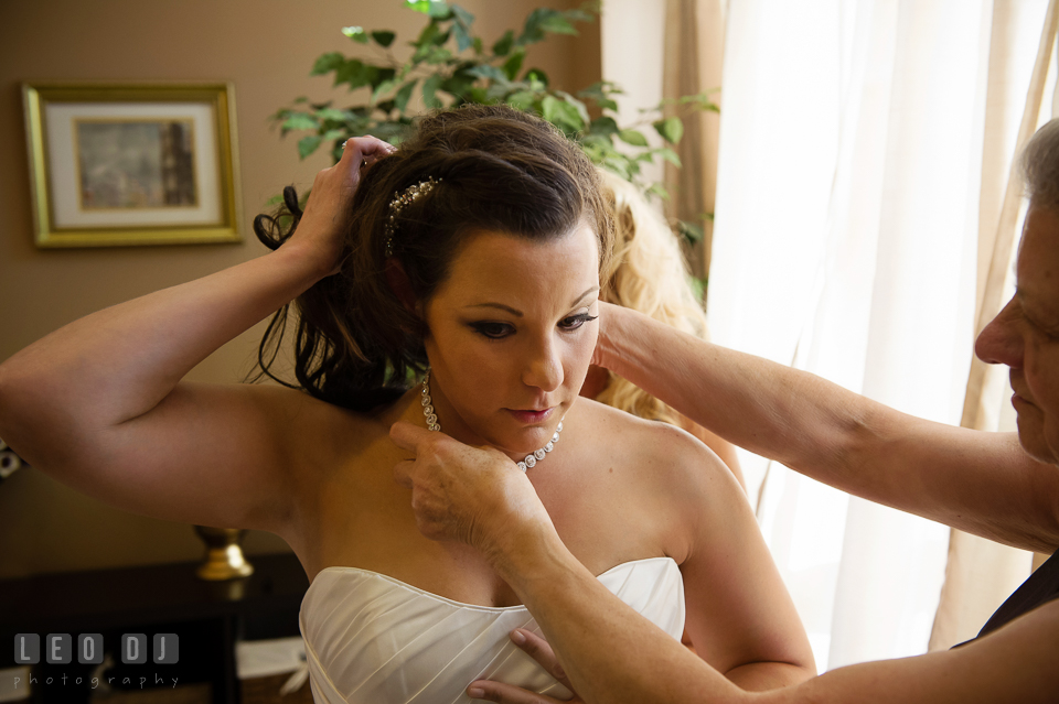 Mother of Bride help daughter getting ready for her wedding. Harbour View Events Woodbridge Virginia wedding ceremony and reception photo, by wedding photographers of Leo Dj Photography. http://leodjphoto.com