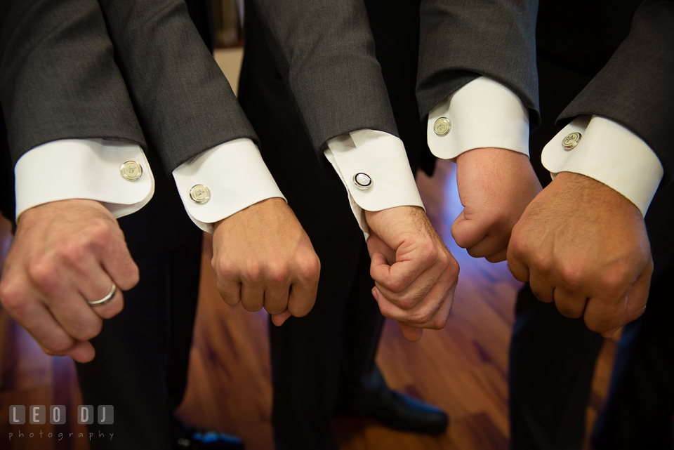 Groom, Best Man and Grooms Men showing off their sleeves with the an Original Penguin by Munsingwear cufflinks. Harbour View Events Woodbridge Virginia wedding ceremony and reception photo, by wedding photographers of Leo Dj Photography. http://leodjphoto.com