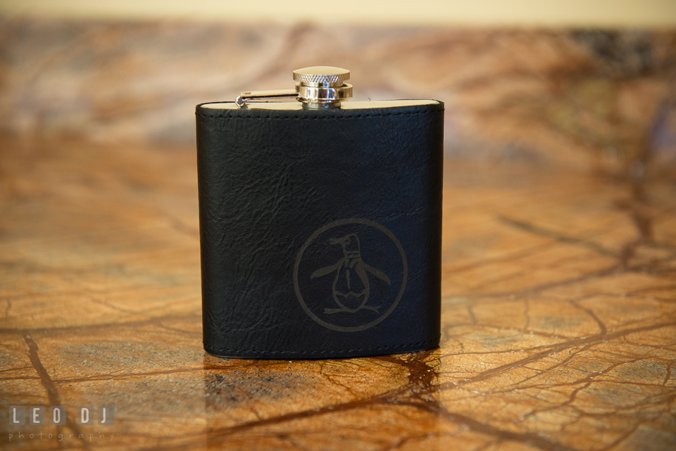 Groom's Original Penguin by Munsingwear flask bottle. Harbour View Events Woodbridge Virginia wedding ceremony and reception photo, by wedding photographers of Leo Dj Photography. http://leodjphoto.com