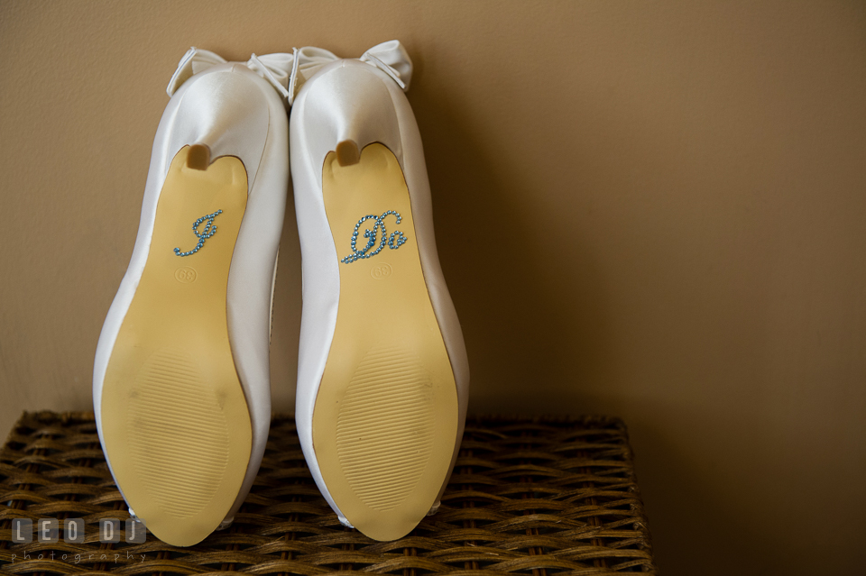 I Do sticker on bridal shoes. Harbour View Events Woodbridge Virginia wedding ceremony and reception photo, by wedding photographers of Leo Dj Photography. http://leodjphoto.com
