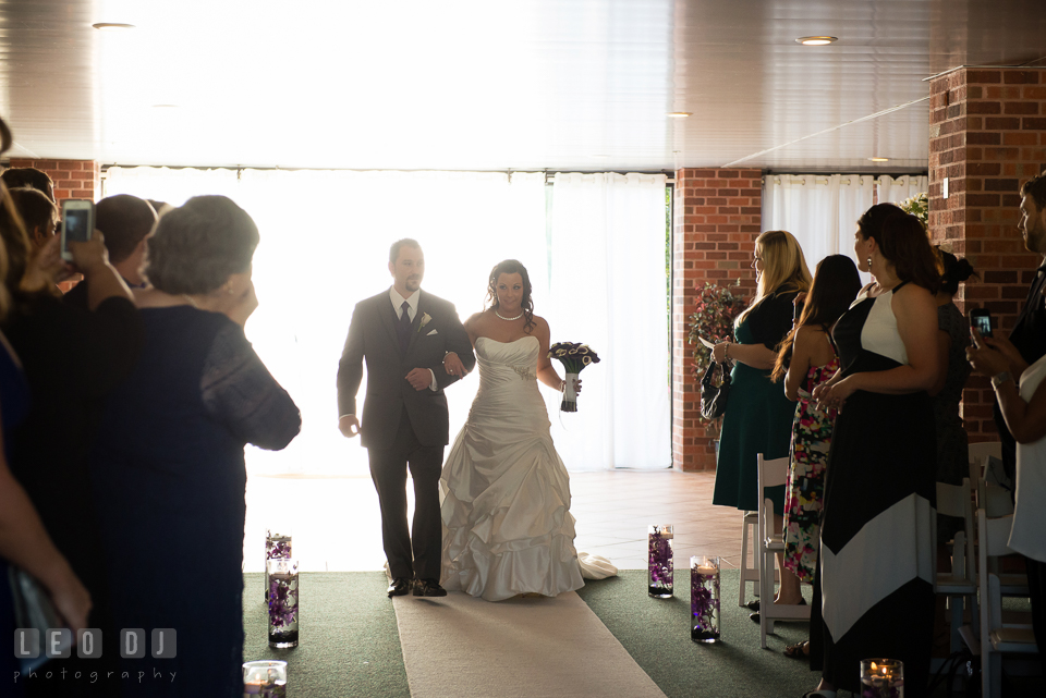 Bride walked down the aisle with her twin brother. Harbour View Events Woodbridge Virginia wedding ceremony and reception photo, by wedding photographers of Leo Dj Photography. http://leodjphoto.com