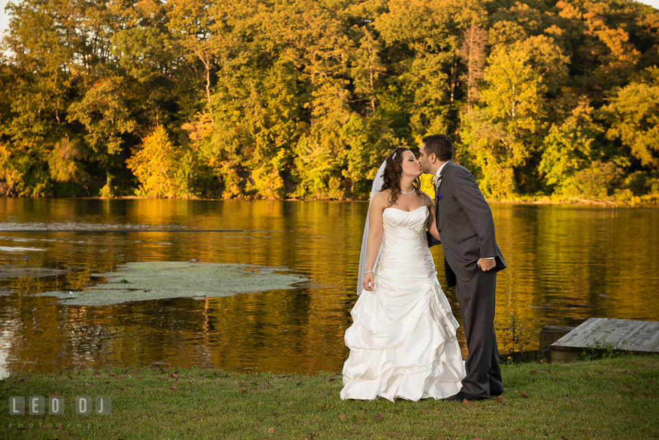 Bride and Groom during romantic photo session. Harbour View Events Woodbridge Virginia wedding ceremony and reception photo, by wedding photographers of Leo Dj Photography. http://leodjphoto.com