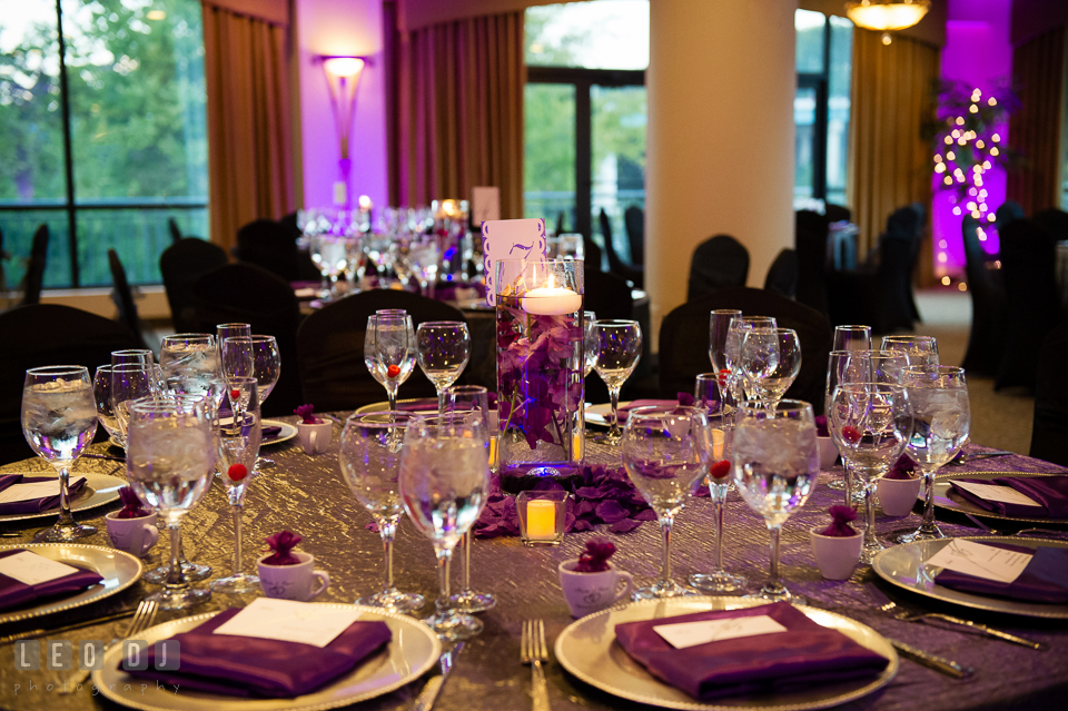 Lovely table setup with the centerpiece. Harbour View Events Woodbridge Virginia wedding ceremony and reception photo, by wedding photographers of Leo Dj Photography. http://leodjphoto.com