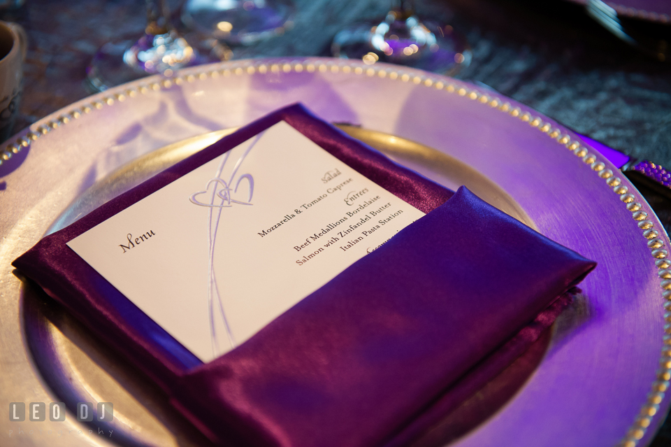 Menu by R &  R Catering at wedding reception. Harbour View Events Woodbridge Virginia wedding ceremony and reception photo, by wedding photographers of Leo Dj Photography. http://leodjphoto.com