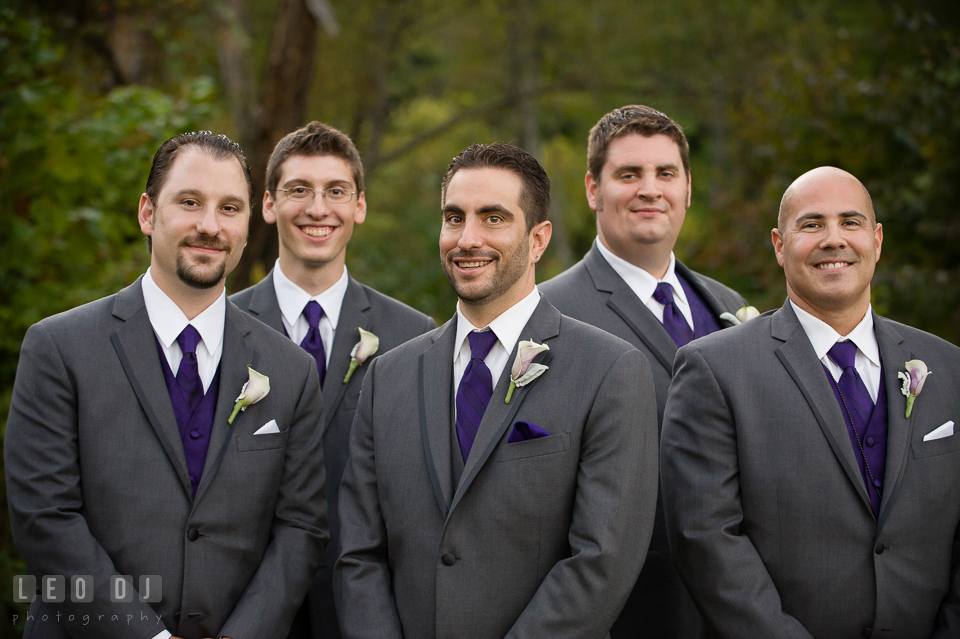 Groom with his Groom's party consisting the Best Man and Groomsmen. Harbour View Events Woodbridge Virginia wedding ceremony and reception photo, by wedding photographers of Leo Dj Photography. http://leodjphoto.com
