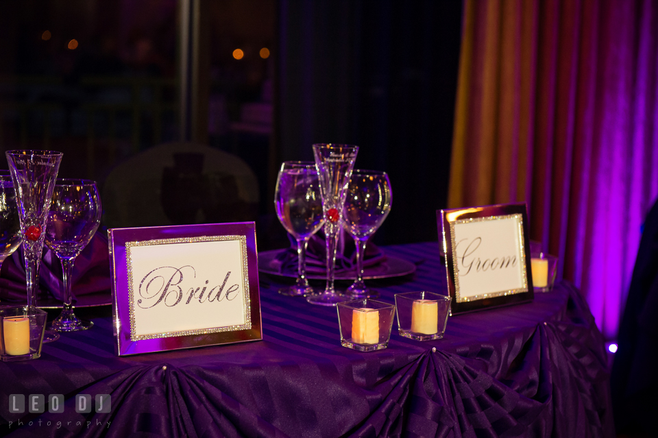 Sweetheart table for the Bride and Groom. Harbour View Events Woodbridge Virginia wedding ceremony and reception photo, by wedding photographers of Leo Dj Photography. http://leodjphoto.com