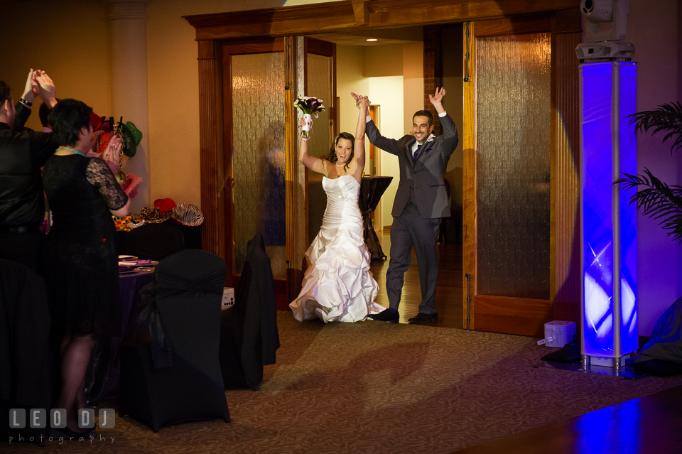 Bride and Groom entering the ballroom. Harbour View Events Woodbridge Virginia wedding ceremony and reception photo, by wedding photographers of Leo Dj Photography. http://leodjphoto.com