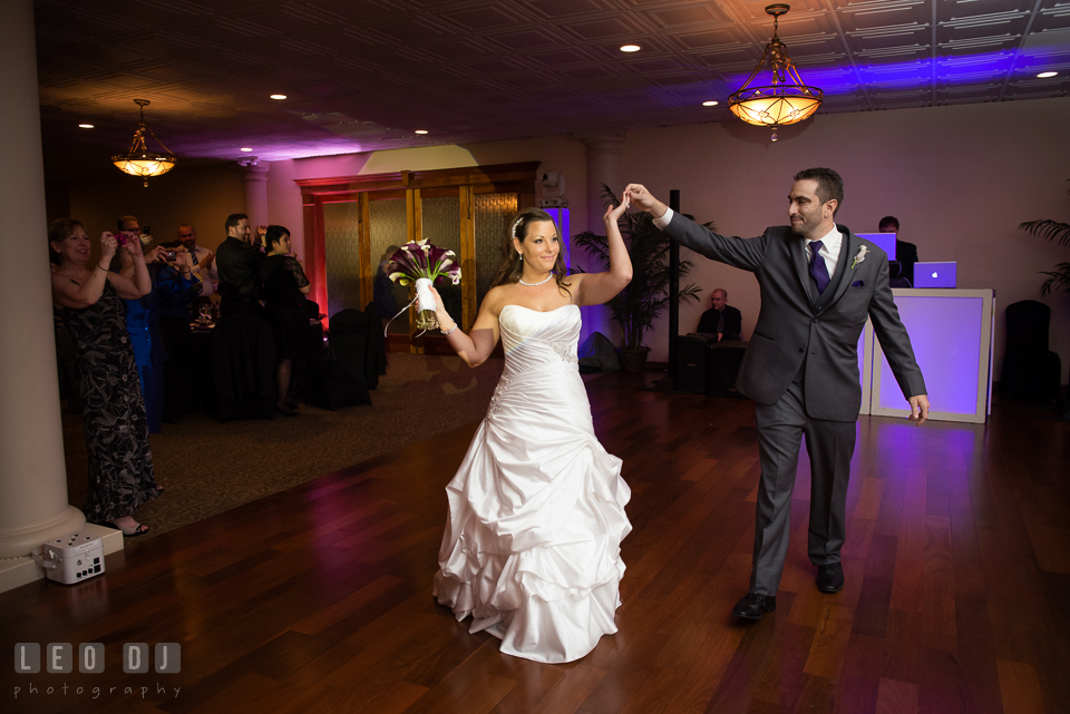 Bride and Groom getting ready at the dance floor. Harbour View Events Woodbridge Virginia wedding ceremony and reception photo, by wedding photographers of Leo Dj Photography. http://leodjphoto.com