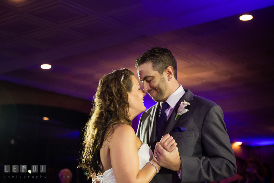 Bride and Groom's first dance. Harbour View Events Woodbridge Virginia wedding ceremony and reception photo, by wedding photographers of Leo Dj Photography. http://leodjphoto.com
